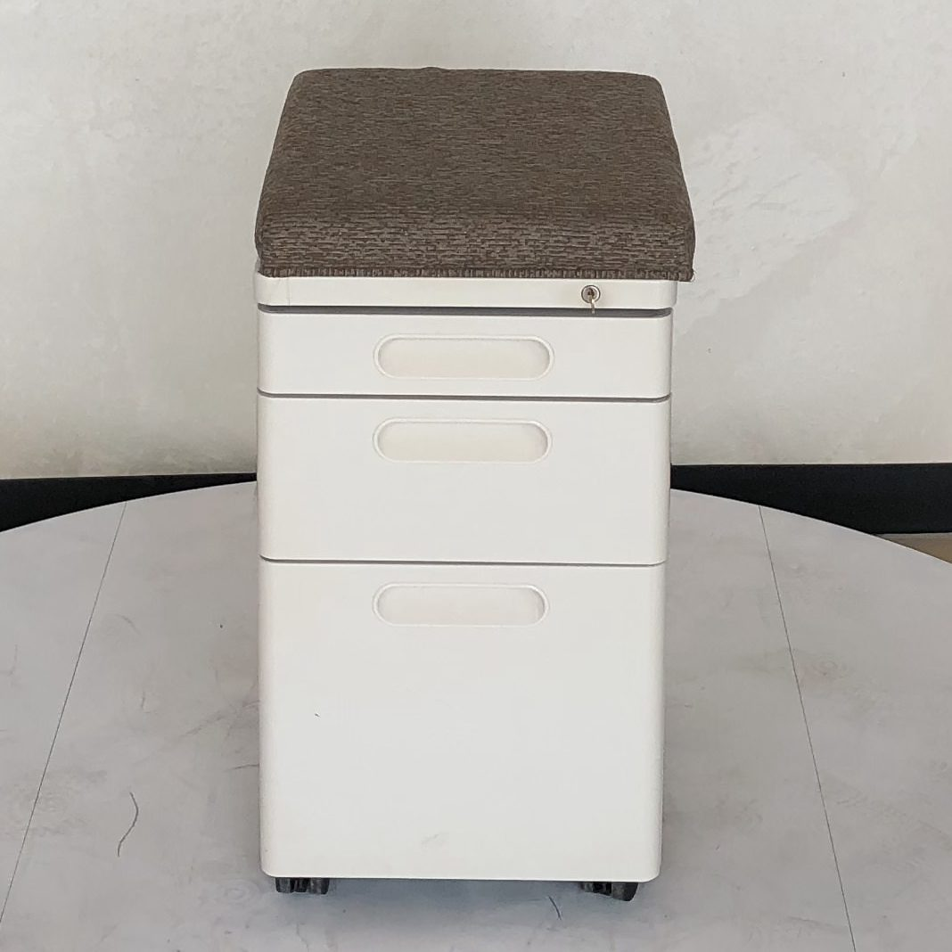 Herman Miller Ethospace tray box file mobile pedestal with cushion seat  top, Lock and Key